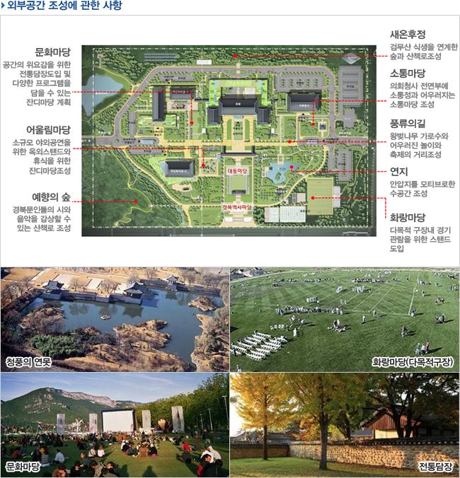 외부공간조성에 관한 사항-청풍의 연못,화랑마당(다목적구장),문화마당,전통담장